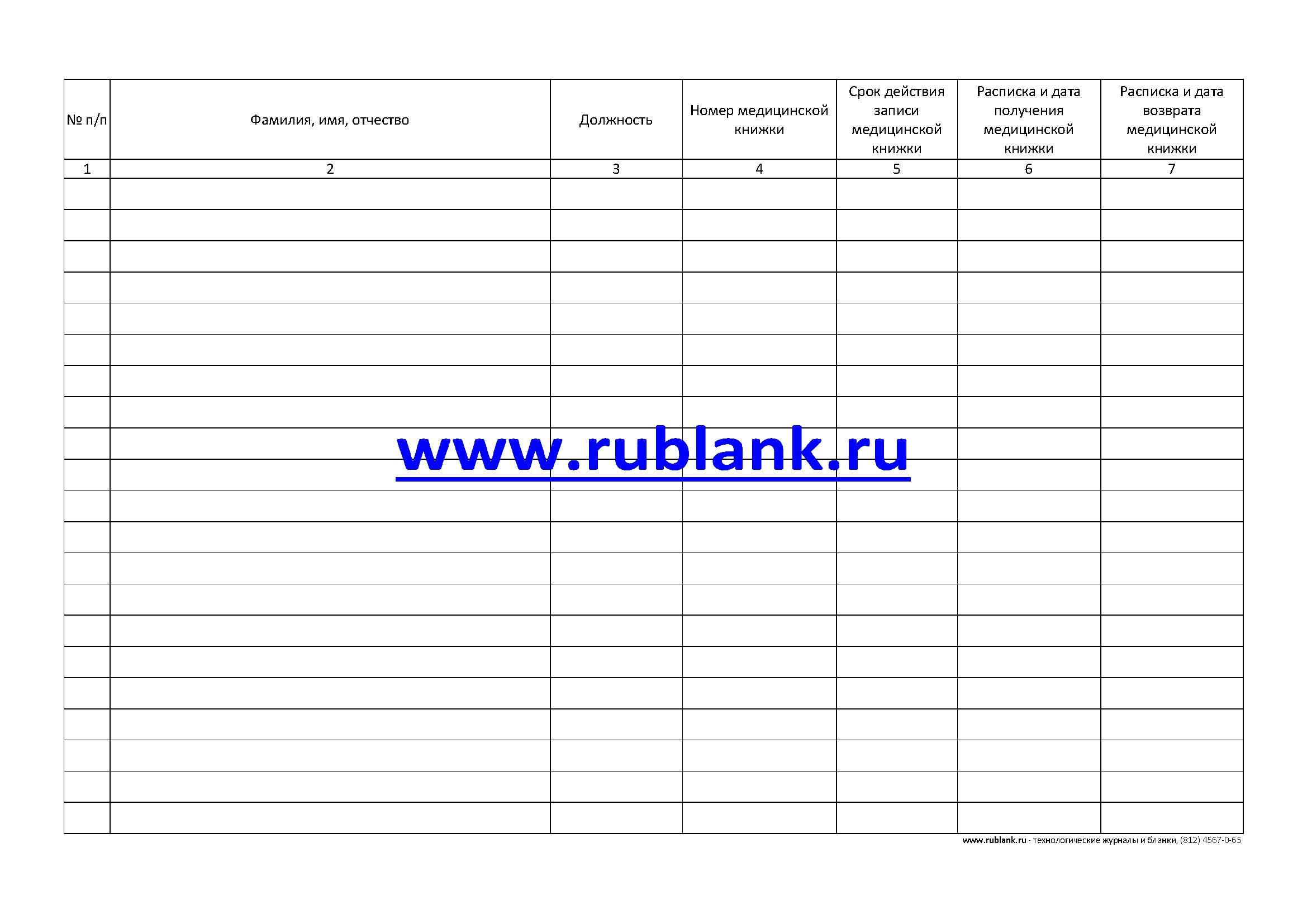 Регистрация медицинских книжек бланк для временной регистрации ребенка